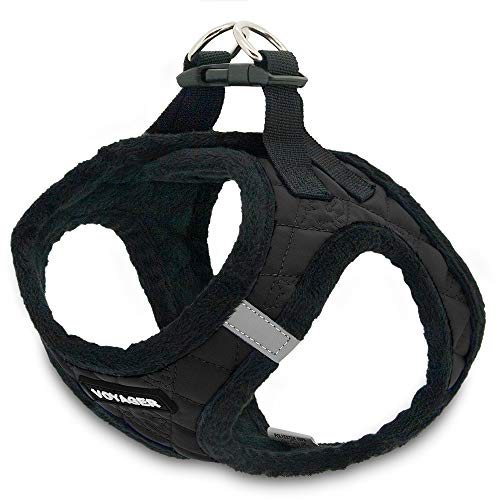 Voyager Step-In Plush Dog Harness - Soft Plush, Step in Vest Harness for Small & Medium Dogs by Best Pet Supplies, Inc., Inc. - Black Faux Leather, Large (Chest: 18