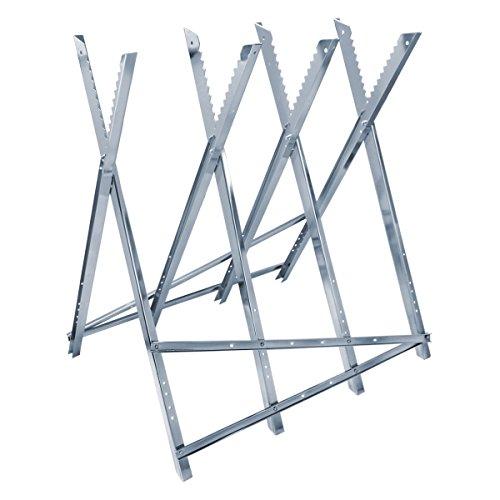ECD Germany Sägebock für Kettensäge - 4-Fach - aus Metall verzinkt - 150 kg Belastbarkeit - klappbar und verstellbar - 82 x 73,5 x 83,5 cm - Sägegestell Sägehilfe Holzsägebock Kettensägebock Holzbock