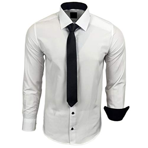 Baxboy 444-BK Herren Kontrast Hemd Business Hemden mit Krawatte Hochzeit Freizeit Fit, Größe:L, Farbe:Weiss/Schwarz
