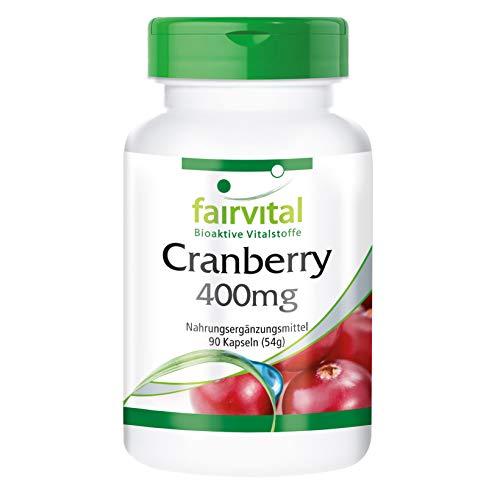 Cranberry Kapseln 400mg - HOCHDOSIERT - VEGAN - 90 Kapseln - Reinsubstanz ohne Zusatzstoffe