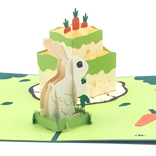 Ribbli Rabbit Cake Handmade 3D Pop Up Card,Greeting Card,Happy Birthday Card,Animal Card,Bunny Card,Cake Card,For Her,Women,Mom,Wife,Sister,Daughter,Grandma,Friend,with Envelope