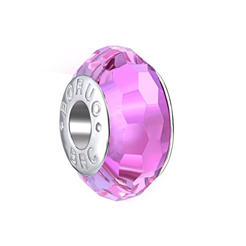 BoRuo 925 Sterling Silver Czech Crystal Fascinating Facet Pink Glass Charms Beads Spacers Solid Core Charm Fit Pandora Bracelets.