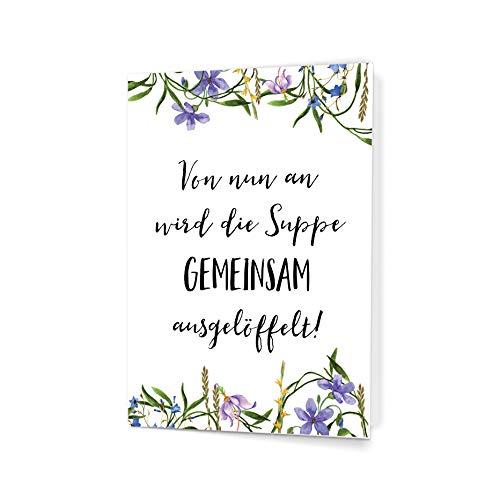 Witzige Postkarte zur Hochzeit für das Brautpaar, DIN A6 - Grußkarte für Glückwünsche von Nastami