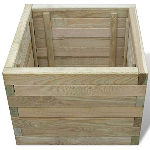Square Box Planters Square Wooden Outdoor Garden Planter-Pressure Treated Timber Standard Raised Garden Planter Bed 50x50x40 cm