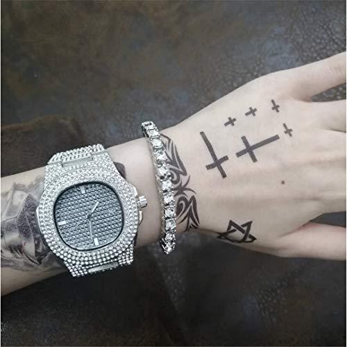 MTRESBRALTS Hip Hop - Reloj de pulsera para hombre, diseño de diamante, cadena cubana, oro y plata, con caja Silver 2