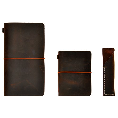 Handgefertigtes Reisetage- und Notizbuch mit Stiftetui, dreiteilig aus Leder (dark coffee)