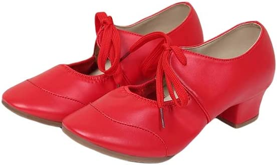 Women's Jazz Shoes, Lace-Up Dance Shoes, Pointed Toe Low-Heel Latin Dance Shoes, National Standard Dance Shoes,Red,40