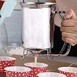 Dispensador de masa de panqueques Dispensador de masa de cupcake de acero inoxidable con tapa Herramienta de embudo de batería profesional de mano para hornear Pastel de magdalenas Crepes Muffins