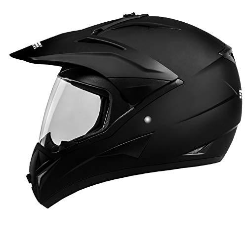 ATO Moto 801 GS War Matt Enduro Helm mit Visier für Quad ATV Motocross Motorradhelm ECE 2205 Größe: XL 61cm