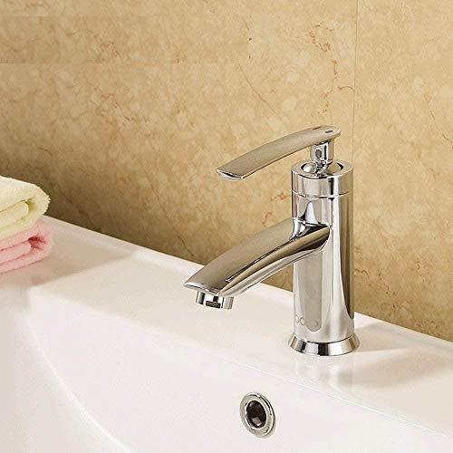 Grifo de baño con manija minimalista de elevación de una sola cabeza, moderno, simple, plateado, todo cobre, grifo para fregadero, mezclador, agua fría y caliente, hogar, grifo de lavabo de un solo o