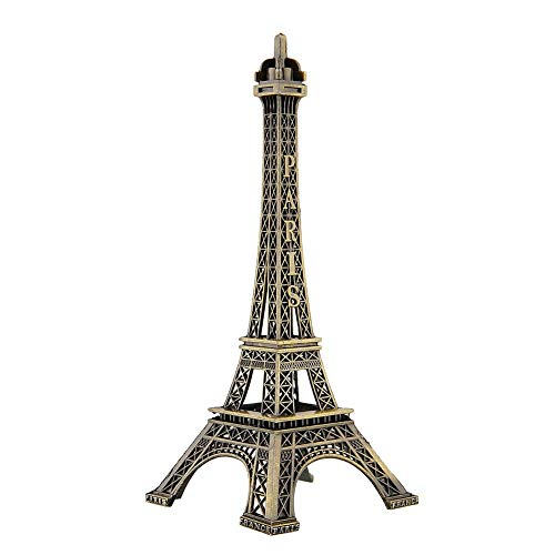 JSANSUI Classroom decoration Bronze Tone Paris Eiffel Tower Metal Figurine Statue Vintage Model Decor Alloy (Size:32 X 13.5cm)