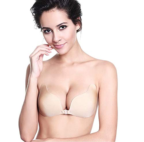 MITALOO Adhesive Invisible Backless Push Up Strapless Sticky Bras Reusable Magic Bra for Women Beige
