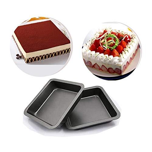Suny Smiling 2 unidades de 20 cm cuadrados para tartas, antiadherente, acero al carbono, bandeja para hornear para pasteles, pan, pizza