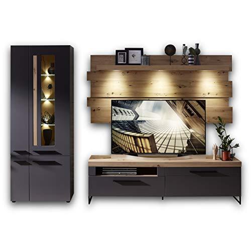 Stella Trading LOFT-TWO Wohnwand Komplett-Set in Artisan-Eiche Optik, graphit - Softclose Schrankwand für Ihr Wohnzimmer - 288 x 201 x 44 cm (B/H/T)