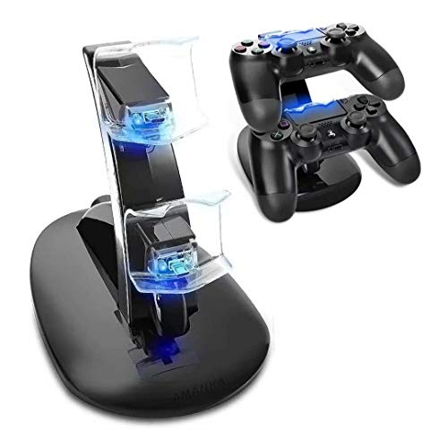 PS4 Controller Base di Ricarica Doppi,AMANKA Dual USB Controller Caricatore Docking Station Stand con LED per Playstation 4 PS4 / PS4 Slim /Pro/ Wireless Controller