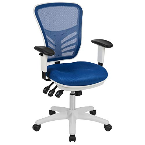 Flash Furniture Mid-Back Blue Mesh Multifunction Executive Swivel Ergonomic Office Chair with Adjustable Arms and White Frame