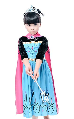 Disfraz de Elsa frozen - niña - mangas de terciopelo negro - halloween - carnaval - capa - talla 130-5/6 años - idea de regalo original frozen
