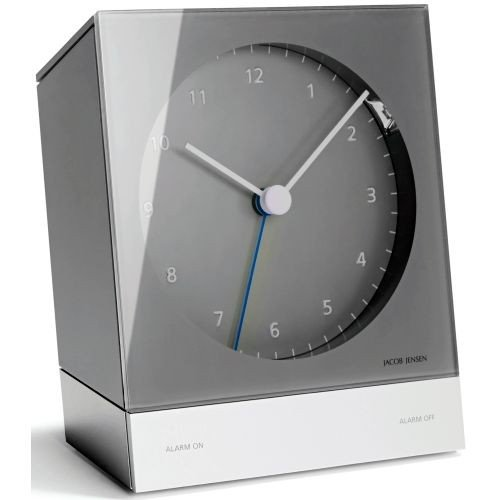 Jacob Jensen - Alarm Clock - Funkwecker - analog - grau - 10,3 x 12,6 x 4,5 cm
