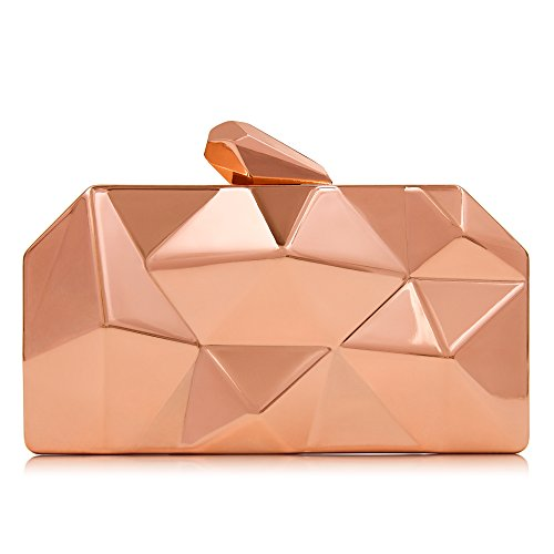 Milisente Women Fashion Metal Evening Handbags Geometric Clutches Purses Bag (Rose Gold)