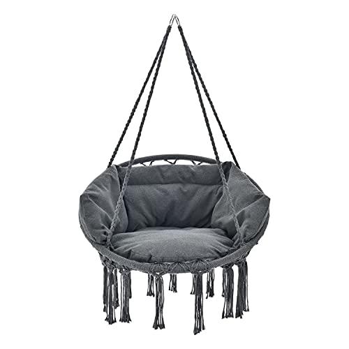 Juskys Hängesessel Cadras Anthrazit mit Kissen im Rücken und Sitzpolster – Indoor Hängekorb 120 kg Belastbarkeit für Kinder & Erwachsene – Einfache Aufhängung