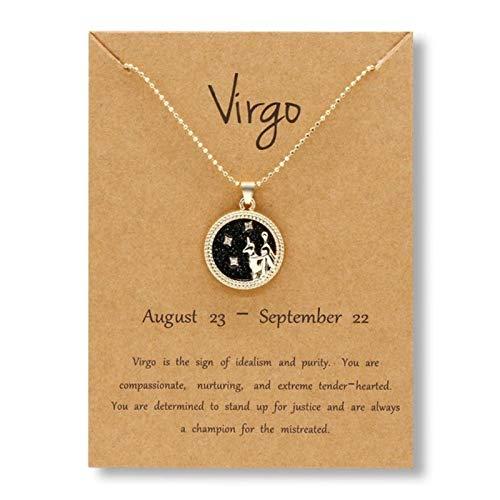 CXWK 12 constelación Signo del Zodiaco Collar Encanto Cadena de Oro Aries Leo Colgante gargantillas Mujeres Hombres Collar joyería