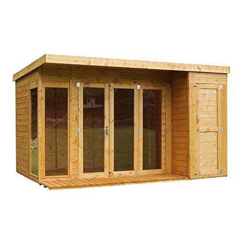 WALTONS EST. 1878 Wooden Garden Summerhouse with Side Shed 12x8 Garden Room, Sunroom, Outdoor Storage (12 x 8 / 12Ft x 8Ft)