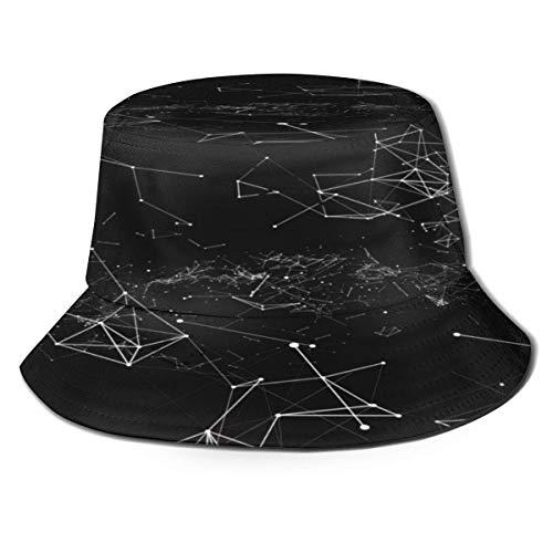Be-ryl Renderizado Puntos Triangulares Abstractos Sombreros de Pescador Oscuros Sombrero de Sol portátil Plegable Sombrero de Cubo Empacable Sombrero de Pesca Transpirable