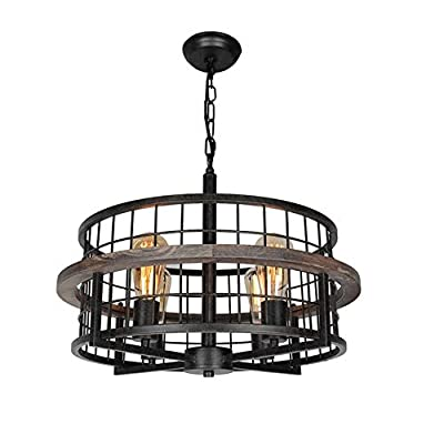 Baiwaiz Round Rustic Farmhouse Chandelier, Wood Metal Wire Cage Pendant Light Drum Shaped Industrial Chandelier Light Fixture for Dining Room 4 Lights Edison E26 073