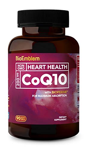 BioEmblem CoQ10 with BioPerine | Natural Form, Non-GMO | Superior Absorption | Coenzyme Q10 Supports Heart Health | 200mg Softgels, 90 Count