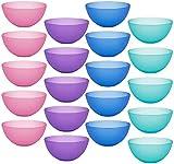 Yesland 20 cuencos de plástico transparente de 15 cm de diámetro, en 4 colores, cuencos ligeros para cereales, cuencos de postre, cuencos de plástico para pasta, sopas, arroz, aperitivos
