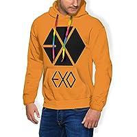 Exo Logo (4) 厚さを増す衛の衣 レジャー スウェット パーカー 長袖 プルオーバー ゆったり 衛衣 人気 通勤 通学 フード付き プレゼント ホリデーギフト ジャケット帽子 男女兼用