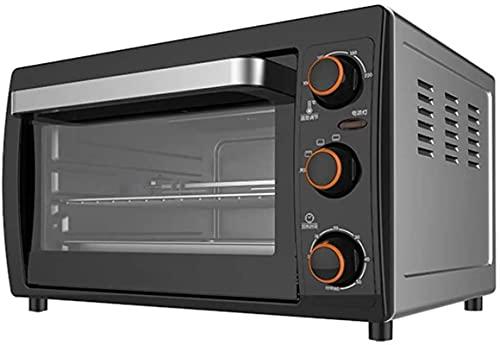 Mini horno eléctrico con función de cocción y parrilla de múltiples plumas, control de temperatura ajustable, temporizador, bandeja de miga extraíble 26L 1200W