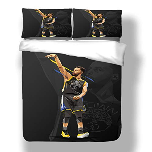 Duvet Cover Set Stephen Golden State Basketball Player 30 Bedding Chef Curry Warriors Super Star Bank Shot Power Shooting Quilt Coverlet with 2 Pillow Shams Human Torch Three Pointer MVP