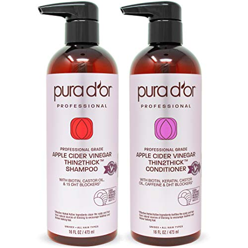 PURA D#039OR Apple Cider Vinegar Thin2Thick Set Shampoo amp Deep Conditioner 2 x 16oz Biotin Keratin Caffeine Castor Oil Sulfate Free Natural Ingredients All Hair Types MenWomen Packaging vary