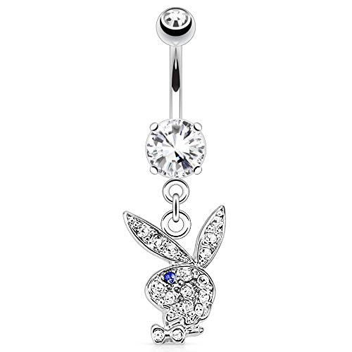 Dynamique Multi Paved Gems On Playboy Bunny Dangle Navel Ring