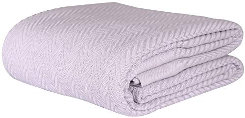 Threadmill Home Linen 100% Cotton Blanket Herringbone Soft Breathable King Size Lilac
