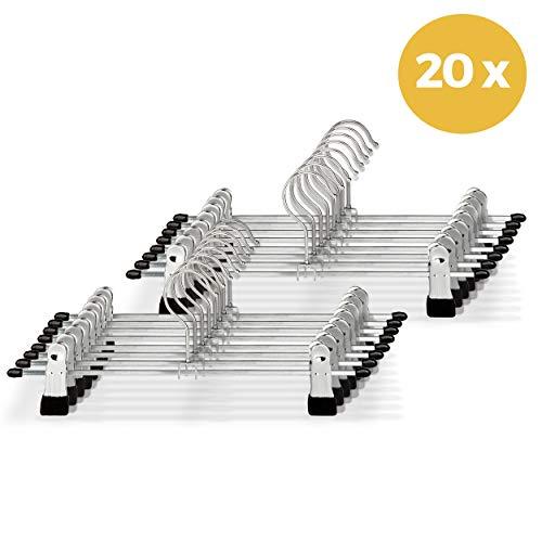 20x Broekhangers met Verstelbare Antislip Knijpers - Stevige Kleding Hanger met Klemmen - Kleerhanger voor Dames/Heren/Kind/Baby - Broek en Rok Houder - Metaal
