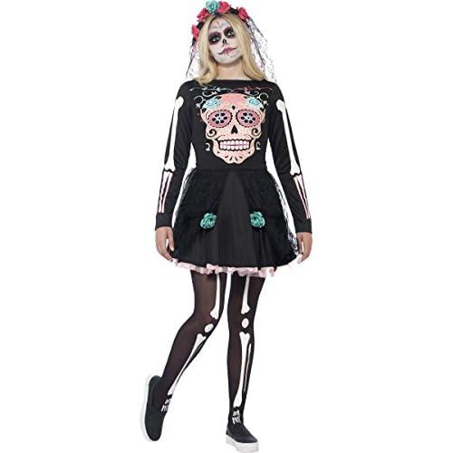 SMIFFYS Costume Sweetie Sugar Skull, comprende Abito e Copricapo