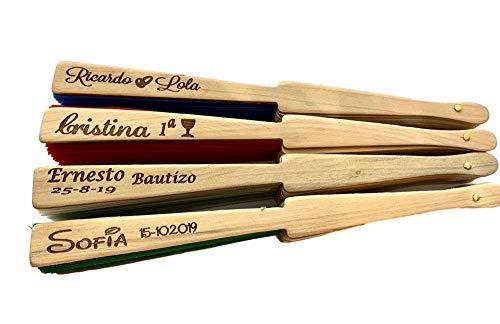 Abanico madera y tela PERSONALIZADO en varilla. Unidades (100)