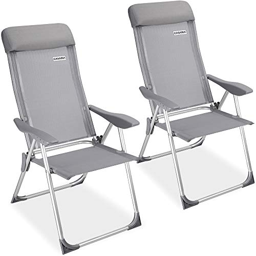 Casaria Set de 2 sillas plegables de Aluminio con respaldo alto reclinable...