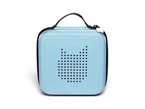 Tonie Transporttasche Hellblau: Die Box zur Aufbewahrung von bis zu 20 Tonies Hörfiguren - Leicht, Abwaschbar, Reißverschluss, 17,5x17,5 cm