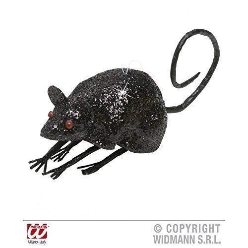 Souris / Rat noir scintillant env. 8,5 cm / Décoration de halloween / Décoration de table / Salle de séjour déco