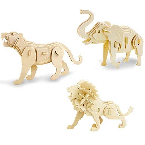 Georgie Porgy 3D Puzzle di Legno Modello Collezione di Modelli Animali Traffico Woodcraft Costruzione Impostato Bambini Giocattoli per Ragazzi e Ragazze età 5+ (3 Pezzo) (Elefante Leone Tigre)