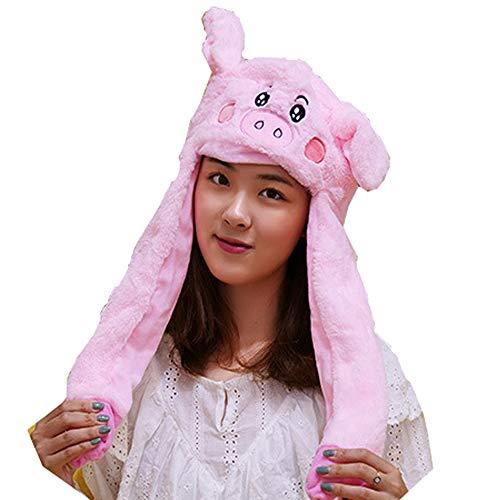 Pink Pig Hat Ear Moving Jumping Hat Pop Up Ears Plush Hat Cap Headband for Women Girls