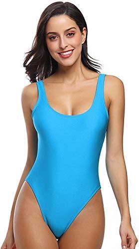 MIAIULIA Women's Retro 80s/90s Inspired High Cut Low Back One Piece Padding Swimwear Bathing Suits Lake Pad M
