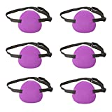 Coobbar 6pcs Eye Patch Strabismus Adjustable Eye Patch Elastic Eye Mask with Buckle for Adult Kids' Amblyopia Strabismus Lazy Eye (Purple)