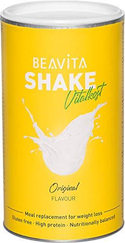 Diät Shake Vanille - 500g Dose - Abnhem Shake reicht für 10 Drinks - unbeschwert Kalorien sparen & Gewicht reduzieren - vitaminreicher Mahlzeitersatz inkl. Diätplan Anleitung von BEAVITA Vitalkost