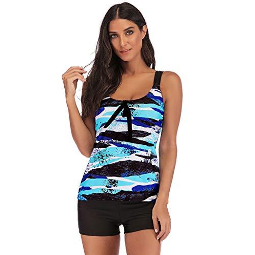 IEason 2pcs Womens Gradient Printed Tankini Swimdress with Boyshort Swimsuits Sport Swimsuit Beachwear Padded Swimwear