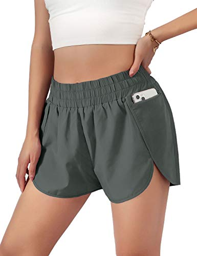 """Blooming Jelly Womens Quick-Dry Running Shorts Sport Layer Elastic Waist Active Workout Shorts with Pockets 1.75"""" (Medium, Olive Green)"""