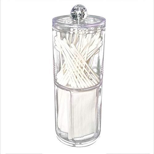 Boîte de tampons de coton, étui de rangement de maquillage de table de boîte ronde en plastique acrylique pour le bureau à domicile